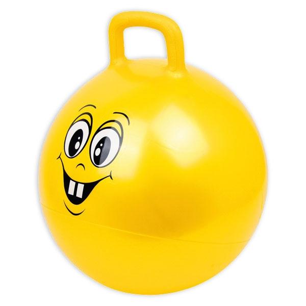 Hüpfball mit lustigem Gesicht, 45cm, mit Griff zum Festhalten beim Reiten