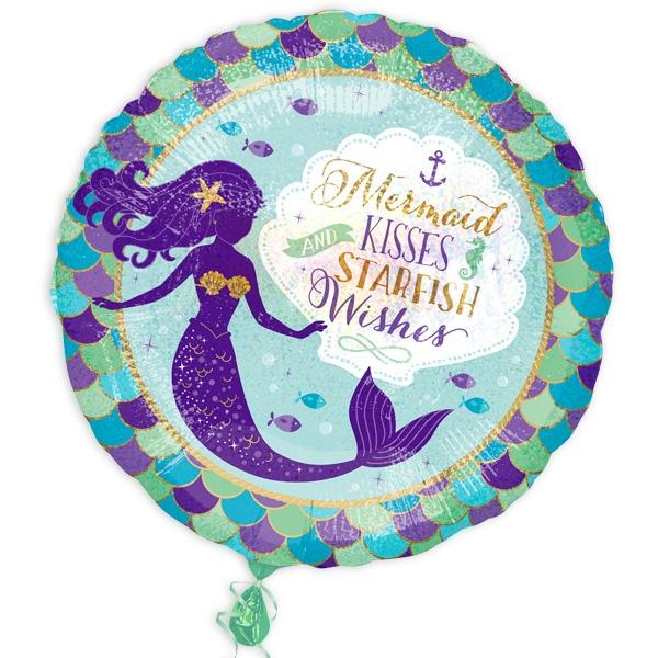 Mermaid runder Folienballon, 35cm, Heliumballon mit Meerjungfrau drauf