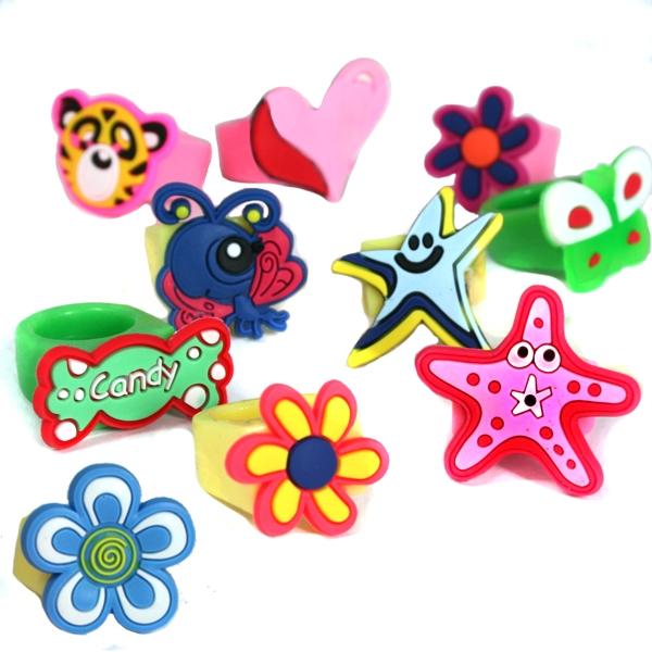Modische Fingerringe, 10 Stück, 3×2cm, als Sterne, Blumen, Tiere