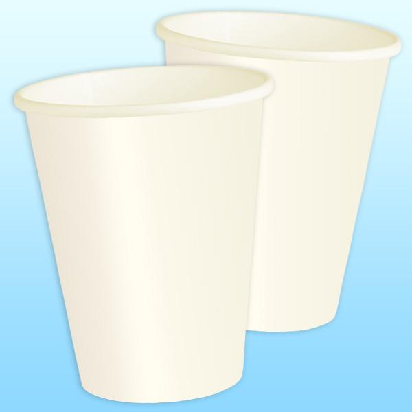 Partybecher aus hochwertiger Pappe, einfarbig creme ca.270ml, 8er-Pack