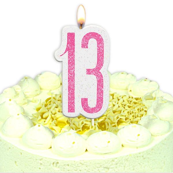 Geburtstagskerze Zahl 13, in schimmerndem Pink