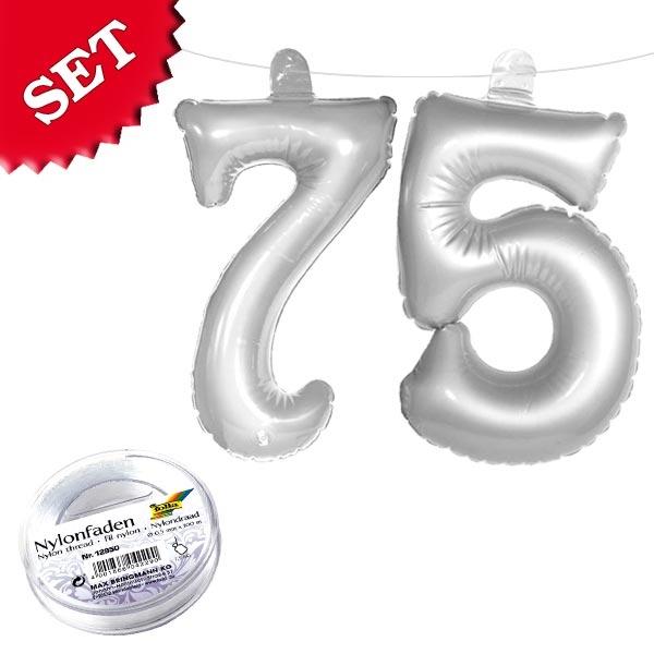Infletter Zahl 75 silbern, aufblasbare Zahlendeko mit Schnur z. Aufhängen