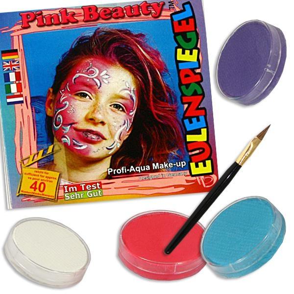 Kinderschminke-Set pink Beauty, Top-Motiv, Profi-Aqua, 4 Farben+Pinsel