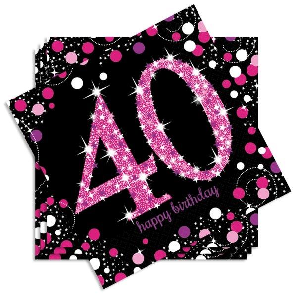 Sparkling Celebr. Servietten pink zum 40sten, 16 Stk., 33cm