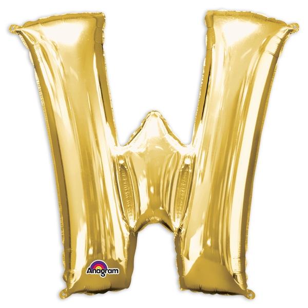 """Folienballon Buchstabe """"W"""" in Gold für Namen & Sprüche, 83 x 71 cm"""