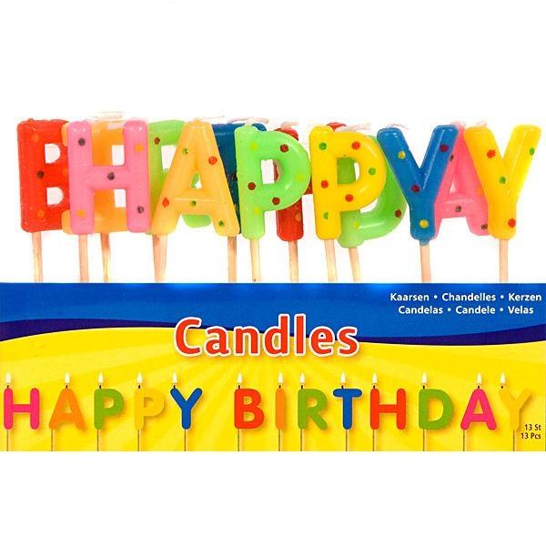 Geburtstagskerzen als Buchstabenkerzen Happy Birthday, bunt, 7,5 cm