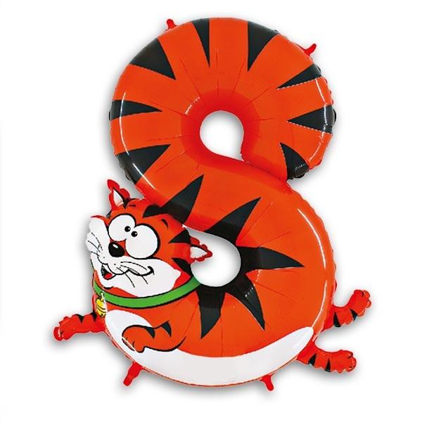 XXL Zahlenballon für 8. Geburtstag als süße Katze/Tiger