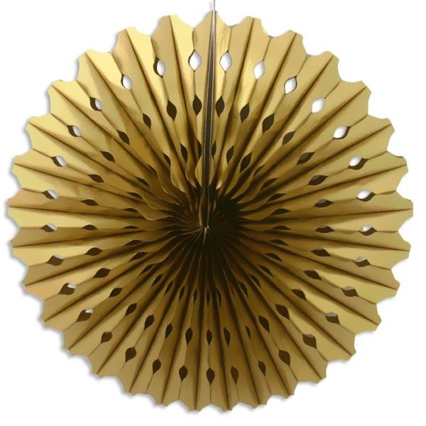 Goldene Fächerblume mit Schnur, tolle Wabendeko in Gold, 45cm