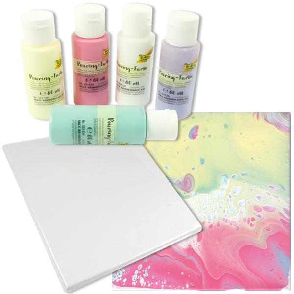 Pouring Kreativset PASTELL, 5 Farben 1 Leinwand, mit Pouring-Medium