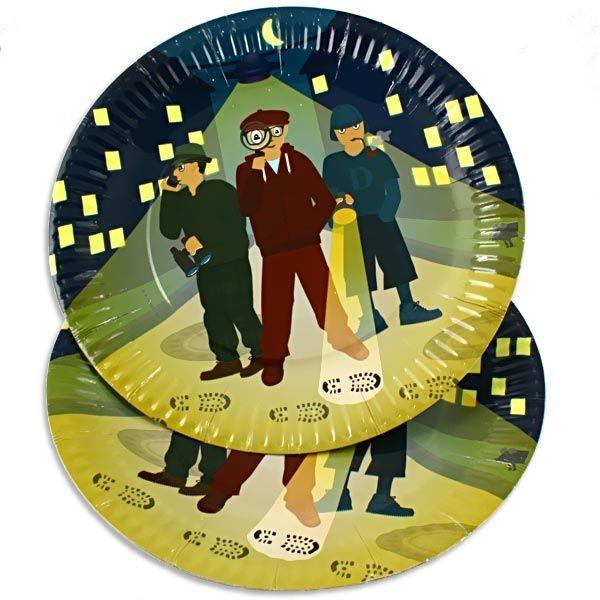 Detektiv Partyteller im 8er Pack, Kuchenteller für Detektivparty, Pappe