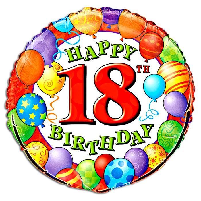Folienballon rund f. Ballonparty Zahl 18 zum 18. Geburtstag