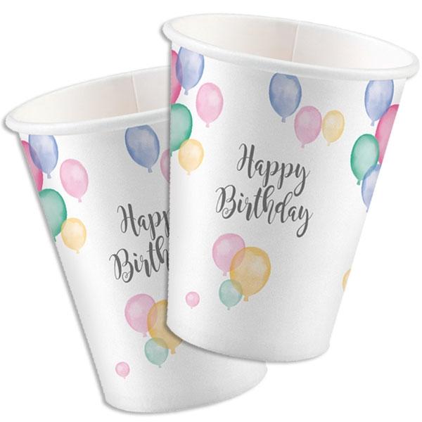 Ballon Party Becher, 8 Stk, Vol. 250ml, zarte Pastelltöne