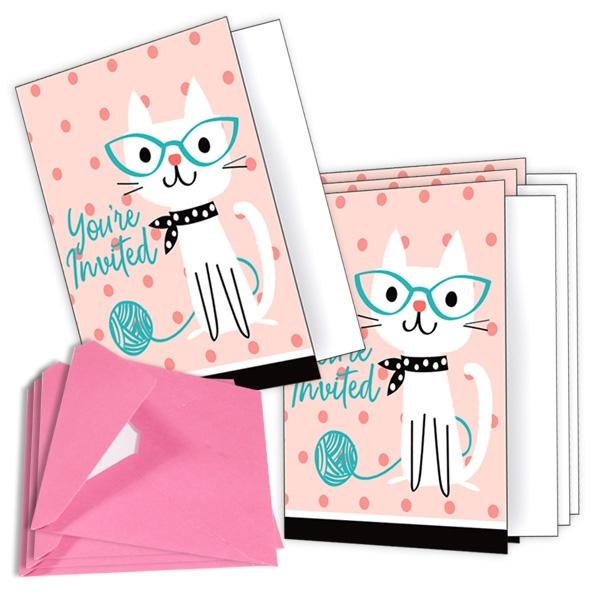 Kätzchen Party Einladungen im 8er Pack mit rosafarbenen Umschlägen