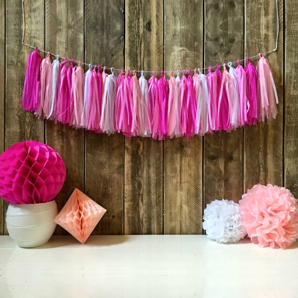 Tassel-Girlande rosa/pink, 1 Stück Pompom/Quasten-Girlande Mädchen