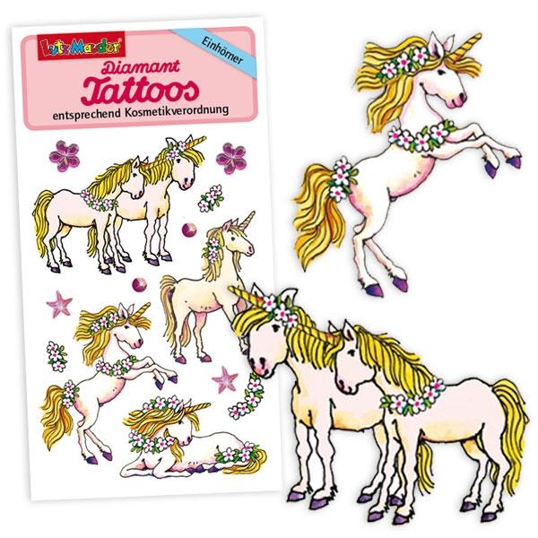 Einhorn Tattoos mit Strasssteinchen, Klebetattoos für Mädchen, 1 Karte
