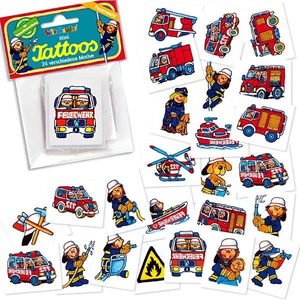 Mini Tattoos Feuerwehr, 24er Pack, Mitgebsel zum Feuerwehrgeburtstag, 3,3cm, Einmaltattoos