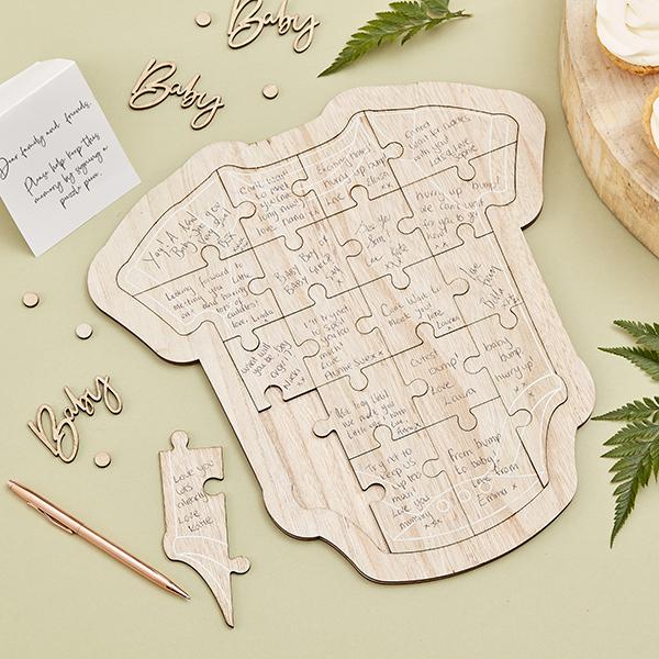 Gästebuch-Puzzle aus Holz, Baby Shower, 32cm