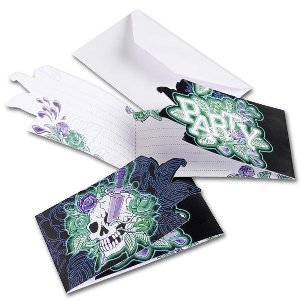 Skull Einladungskarten mit Totenkopf, 6er Pack mit Umschlägen, 8×13cm