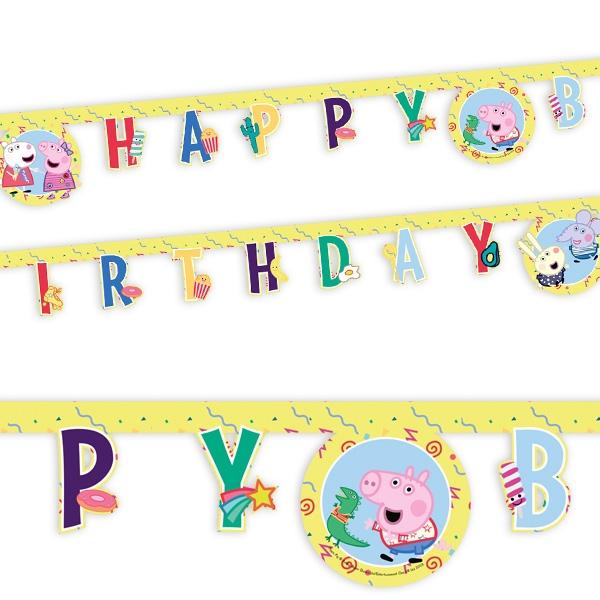 Peppa Pig Buchstabenkette, 2m lang, Happy Birthday