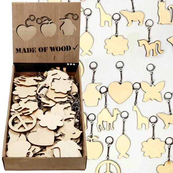 Großpackung Schlüsselanhänger aus Holz für Kreative, 128 Stück, 7cm