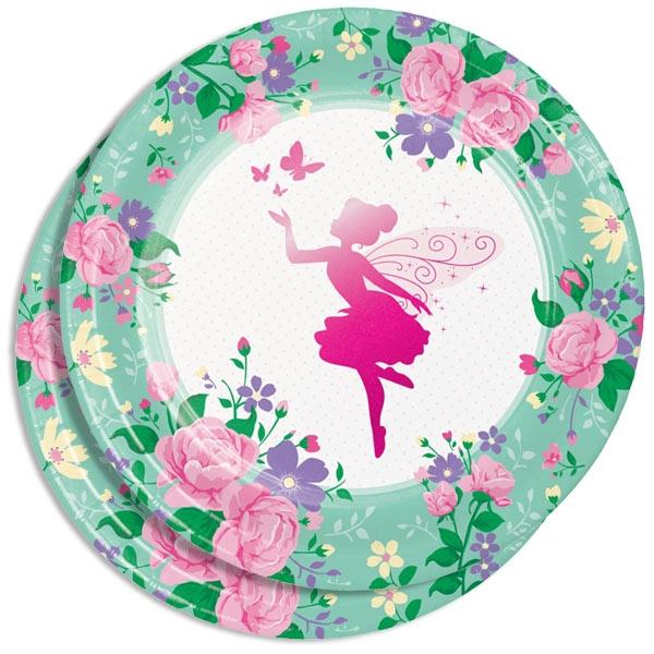 Blumenfee Partyteller, 8er, 23cm für Feenparty zum Mädchengeburtstag