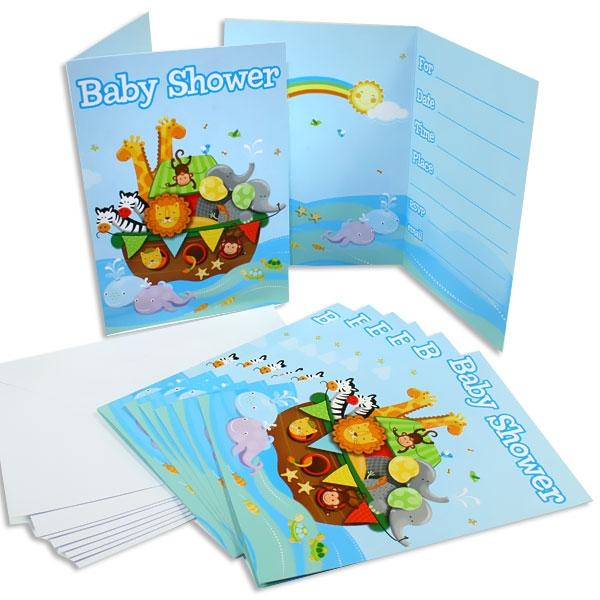 Einladungskarten, Arche Noah, 8er Pack, Babyparty, inkl. Umschlägen