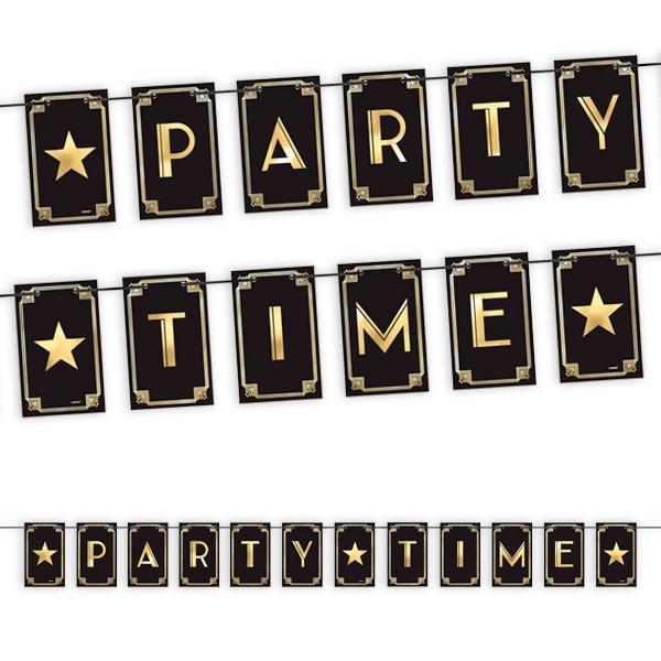 """""""Partytime"""" Flagenbanner, schwarz mit goldenem Aufdruck, 3,65m"""