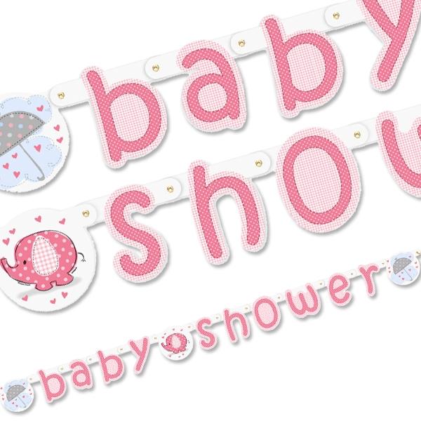 Babyparty Dekokette mit Elefant und Schirm für Baby Shower Girl, 1,6 m