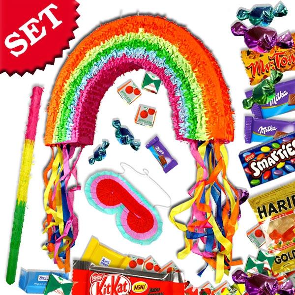 Pinata-Sparset Regenbogen: Pinata zum Schlagen +Keule +Maske +Süßes