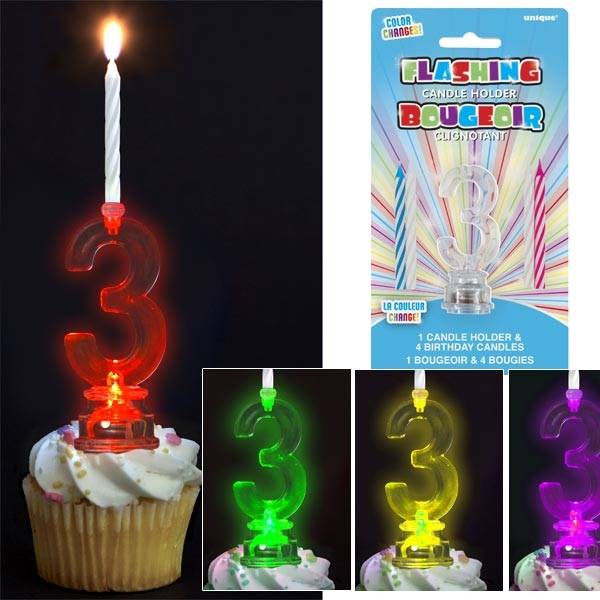 Kerzenständer als Zahl 3 für Geburtstagstorte mit 4 Kerzen