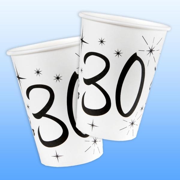 Becher zum 30. Geburtstag aus bedruckter Pappe, 10er Pack