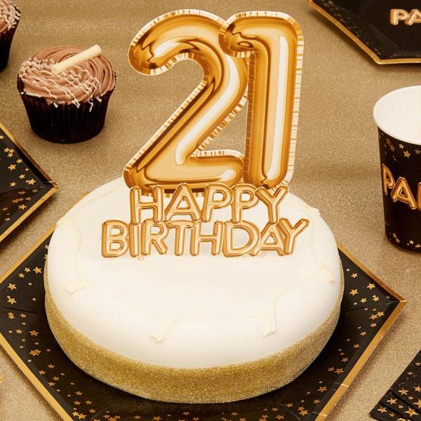 "Cake Topper ""21. Happy Birthday"", Gold"