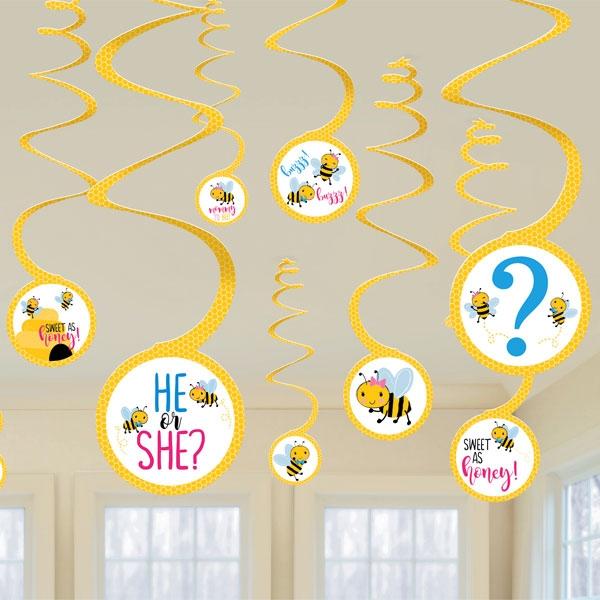 Baby Shower Bienchen Spiralen, 12 Stk, Junge oder Mädchen?