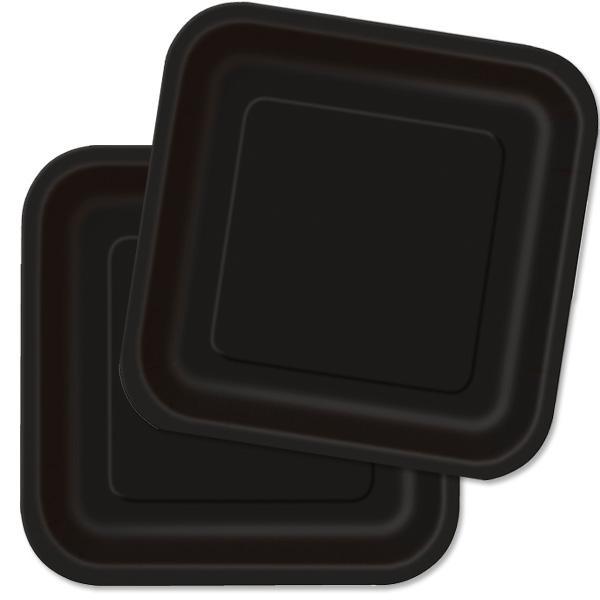 Partyteller eckig schwarz 16 Stk., einfarbige Pappteller, 17,8 cm