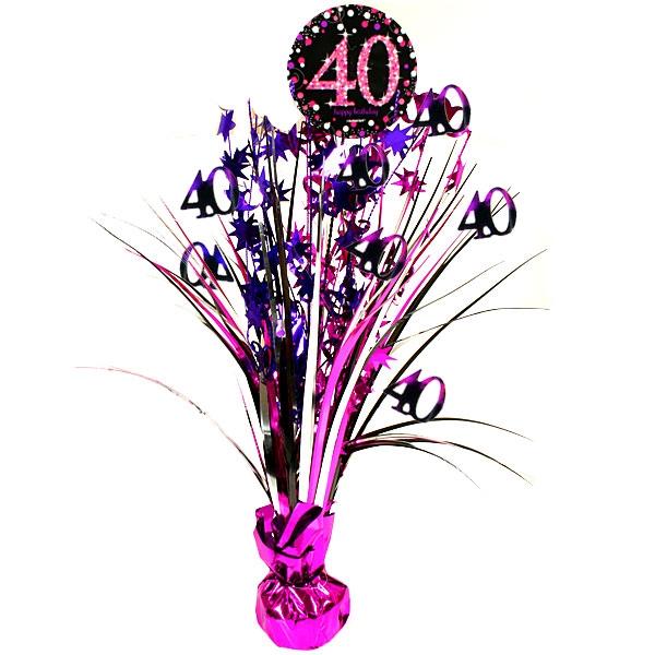 Sparkling Celebr. Tischkaskade zum Vierzigsten, pink, 46cm