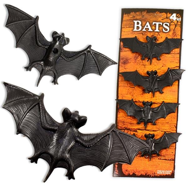 Fledermaus Set, 4 Fledermäuse aus Gummi als Gruselparty Deko, 10cm