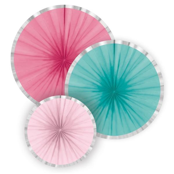 3 Papierfächer in Pastelltönen, Ø 16 - 35 cm