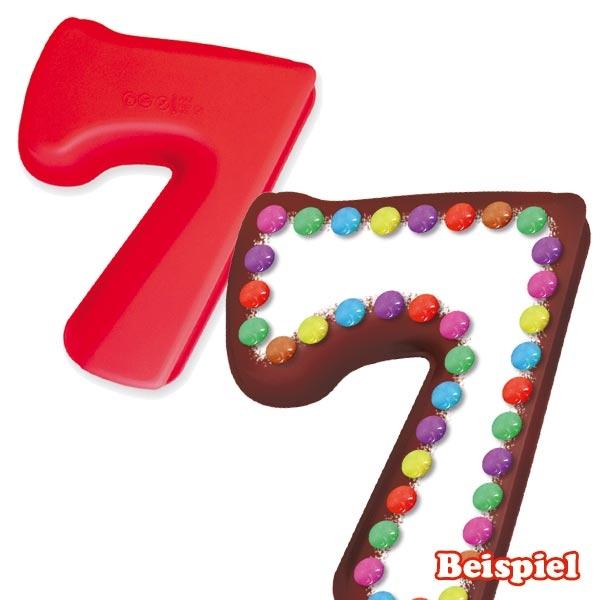 """Zahlen Backform """"7"""" aus Silikon für Kuchen, Pudding oder Eis, 1 Stück"""