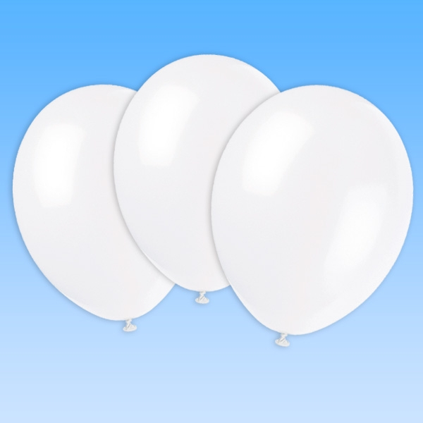 Luftballons weiß im 10er Pack, 30cm