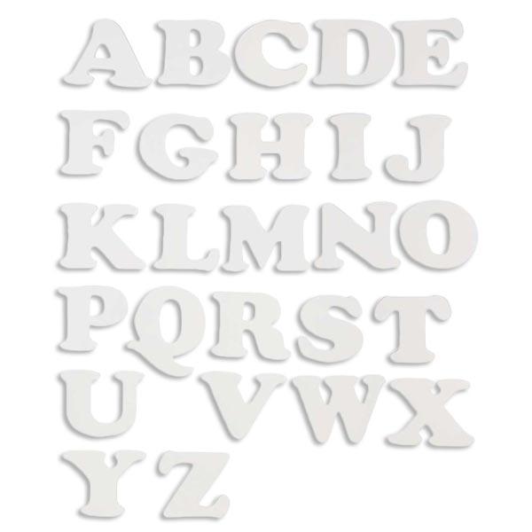 Buchstabenset Alphabet 3er in weiß zum Bemalen, Lernen u. Gestalten