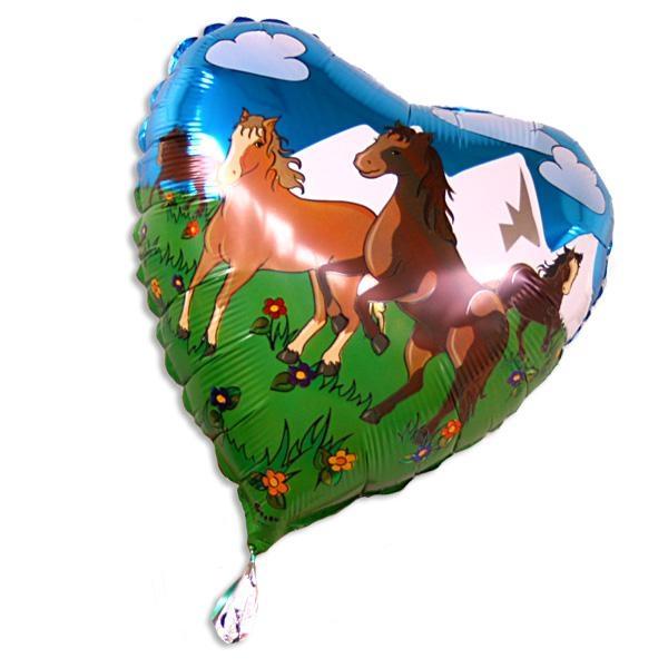 Pferde-Folienballon als Herz, 35 cm