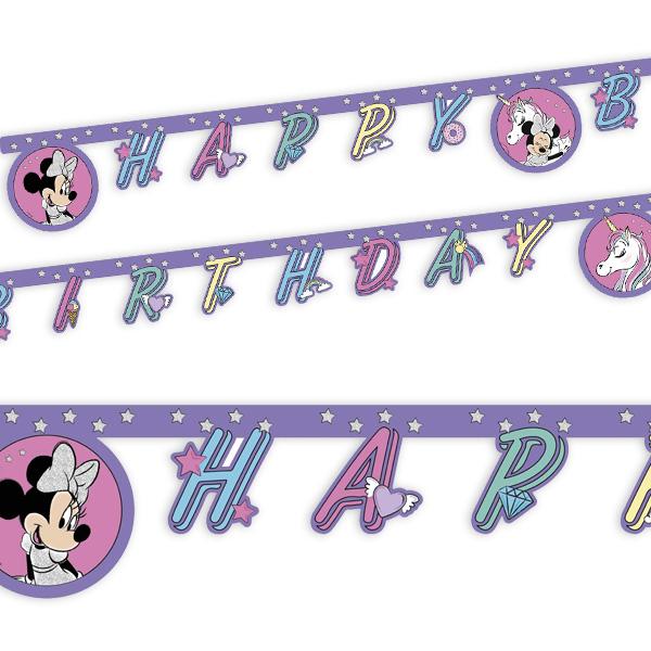 """Minnie Maus Einhorn Buchstabenkette, """"Happy Birthday"""", 2m"""