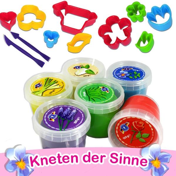 Knete der Sinne, mit Blumenduft, Veilchen, Rose, Weißer Flieder, Zitronengras, edukatives Spielzeug für Kids, mit Ausstechern