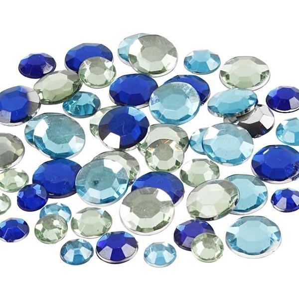 Strasssteine, 360 Stk, Rund, blau, facettierte Oberfläche, 6 - 12mm