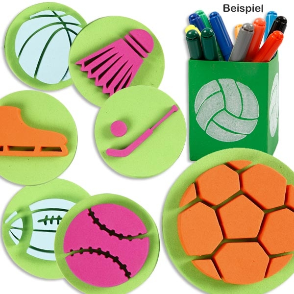 Moosgummi Stempel SPORT, 6 Stk. mit Fußball, Volleyball etc., 7,5cm