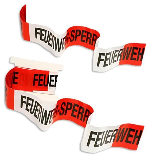 """Feuerwehr Absperrband rot-weiß, Aufdruck """"Feuerwehr Sperrzone"""", Folie,10m"""