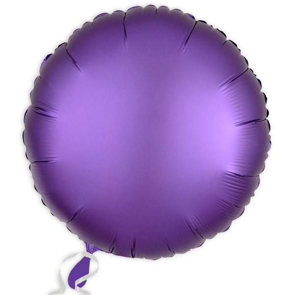 Folieballon rund Satin Luxe Lila, 34 cm