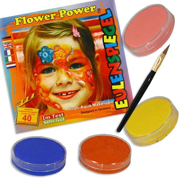 Kinderschminke-Set Flower Power, Top-Motiv, Profi-Aqua,4 Farben+Pinsel