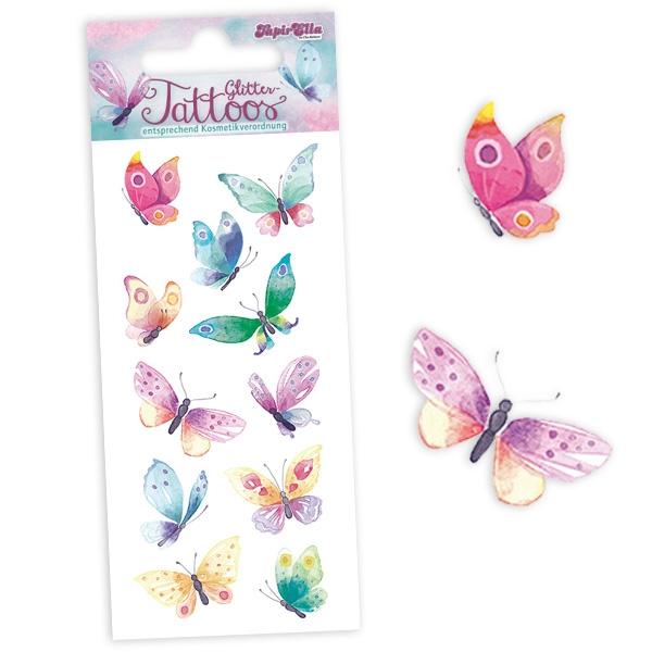 Schmetterlinge Glitzertattoos, 1 Karte mit 11 Butterfly-Klebetattoos