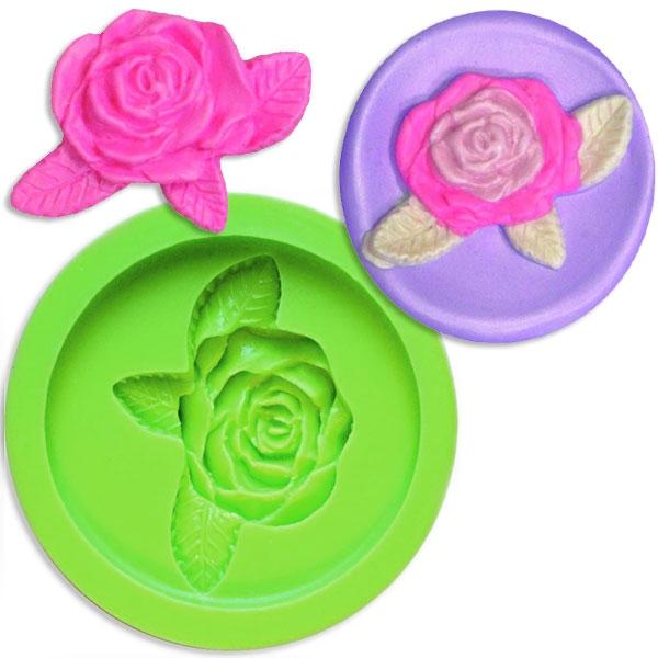 Rose mit Blatt, 3D Silikonform, 51mm x 36mm für Modelliermasse oder essbare Verzierungen